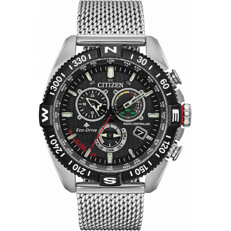 Mens Citizen Eco-drive Promaster Navihawk Radio Controlled Alarm Chronograph Stainless Steel Watch CB5840-59E