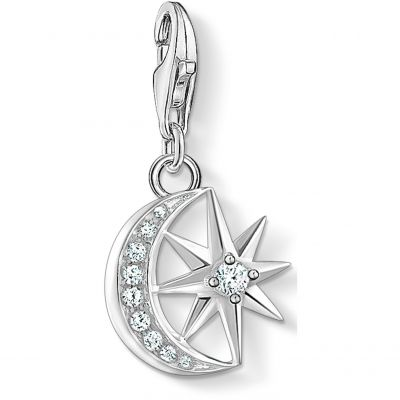 Thomas Sabo Zirconia Star & Moon Charm Sterlingsilver 1794-051-14