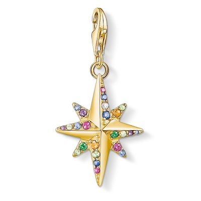 Thomas Sabo Gold Colourful Star Compass Charm Sterlingsilver 1816-488-7