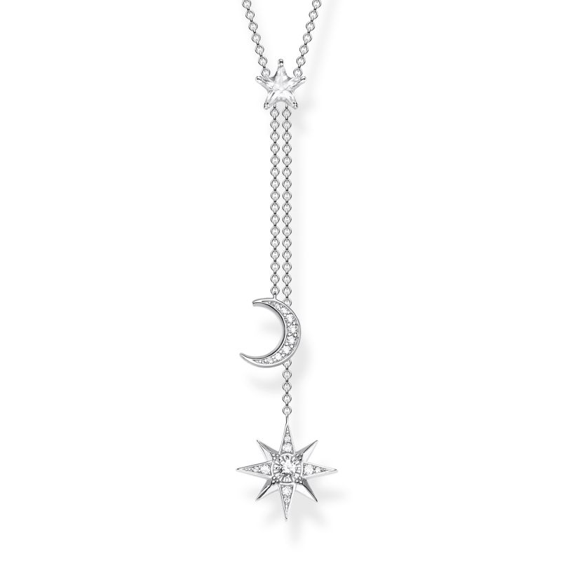 Thomas Sabo Zirconia Magic Stars Moon Necklace KE1900-051-14-L45V