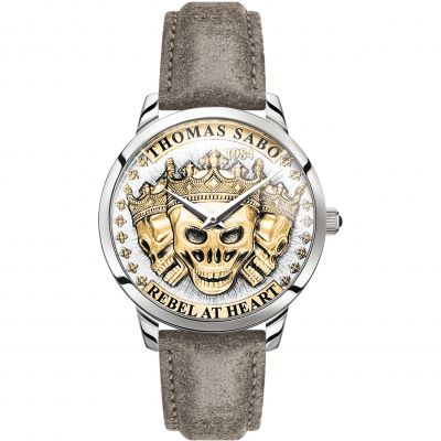 Reloj para Hombre Thomas Sabo Rebel Spirit Gold 3D Skulls WA0356-273-207-42MM