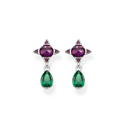 Bijoux Thomas Sabo Magic Stones Purple Green Stone Droplet Boucles d'oreilles H2073-348-7