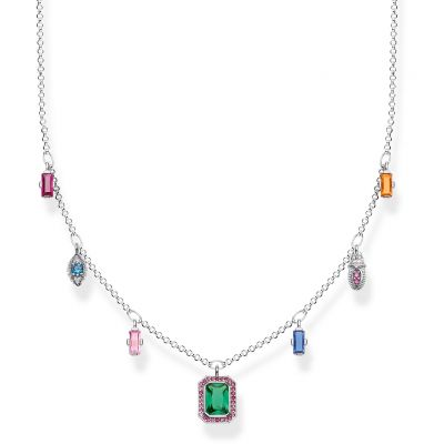 Thomas Sabo Magic Stones Colourful Lucky Symbols Silver Halskette Sterling-Silber KE1893-342-7-L45V