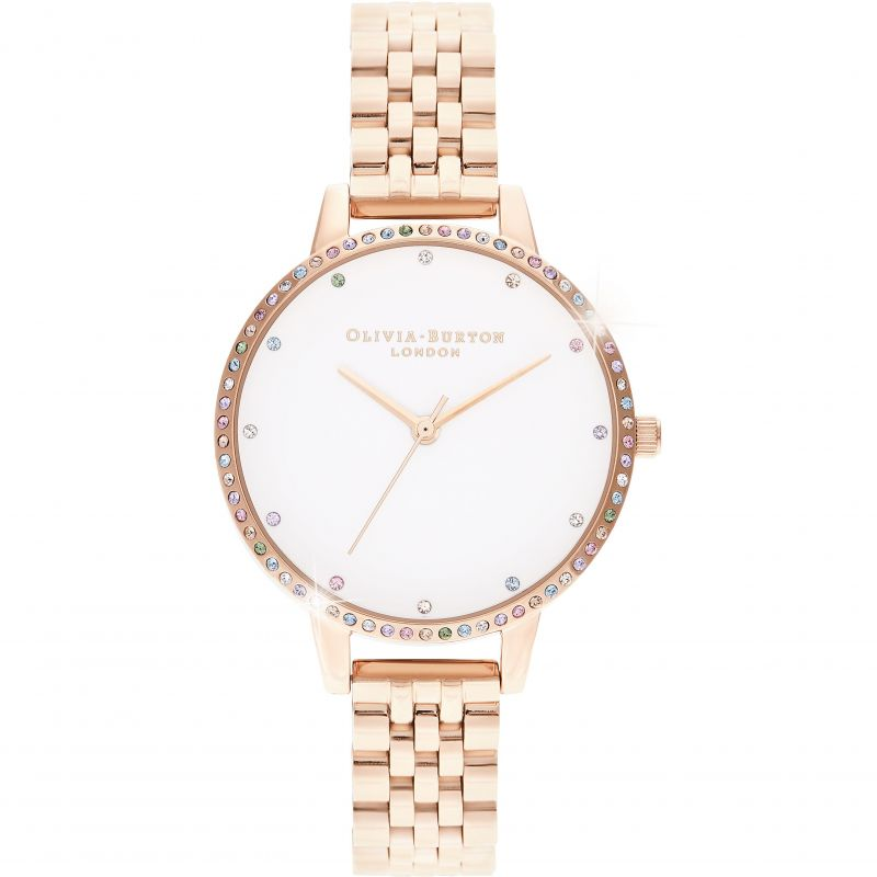 Ladies Olivia Burton Rainbow Bezel & Rose Gold Bracelet Watch OB16RB21