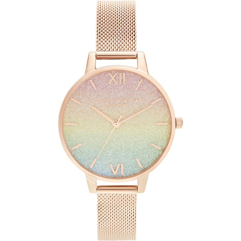 Ladies Olivia Burton Rainbow Glitter Dial & Rose Gold Mesh Watch OB16RB18