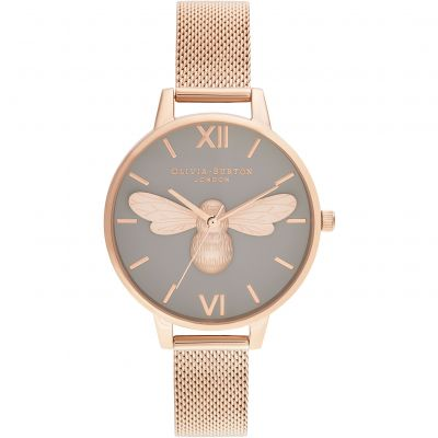 Olivia Burton Lucky Bee, Grey Dial & Rose Gold Mesh Damklocka Rose Gold OB16FB10