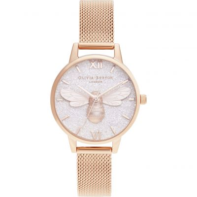 Olivia Burton Lucky Bee & Rose Gold Mesh Damklocka Rose Gold OB16FB04