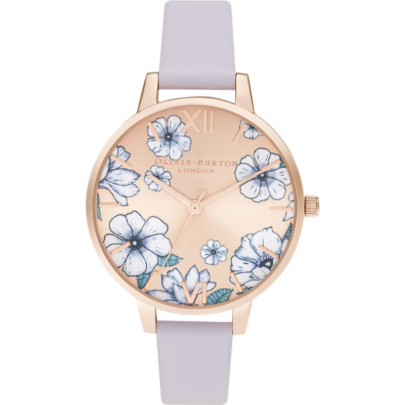 Ladies Olivia Burton Parama Violet & Rose Gold Sunray Watch OB16AN03