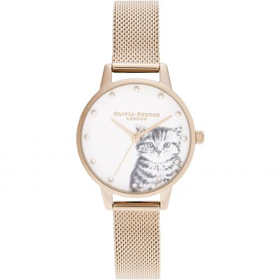 Olivia Burton Pearly Kitten, Rose Gold Mesh Damklocka Rose Gold OB16WL88