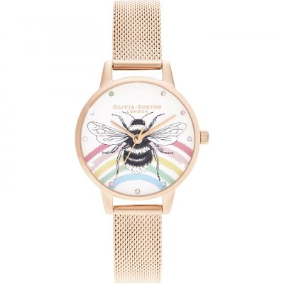 Olivia Burton Rainbow Bee, Rose Gold Mesh Damklocka Rose Gold OB16WL90