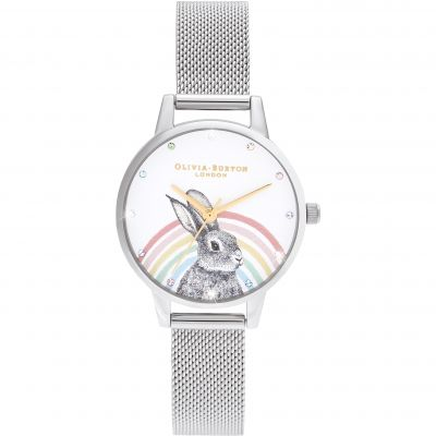 Ladies Olivia Burton Rainbow Bunny, Gold & Silver Mesh Watch OB16WL89