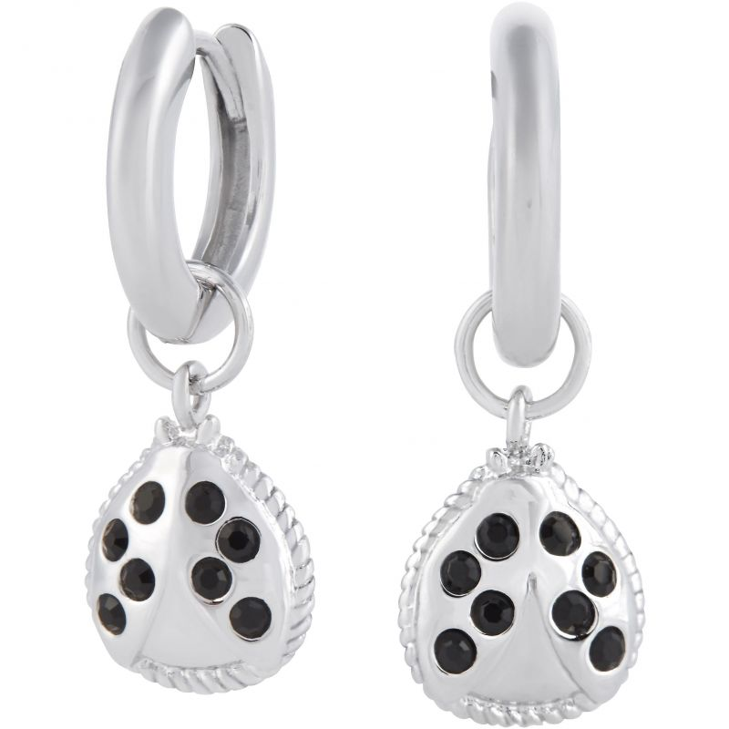 Ladybird Huggie Hoops Silver Earrings OBJAME208