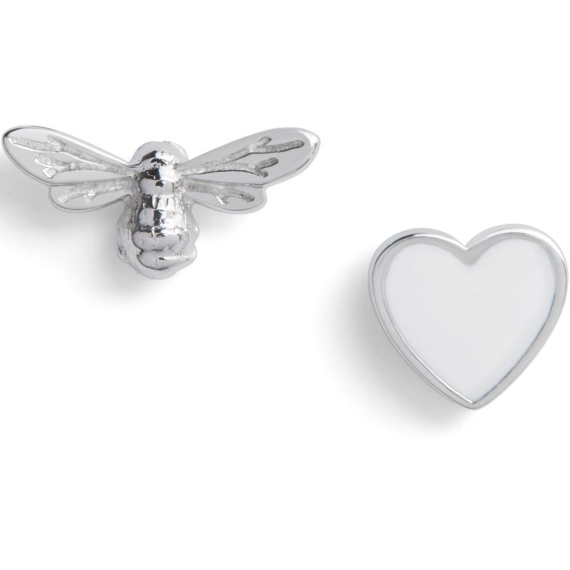 You have my Heart Studs White & Silver Earrings OBJLHE46