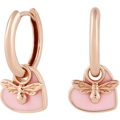 You have my Heart Huggie Hoops Pink & Rose Gold Earrings OBJLHE41