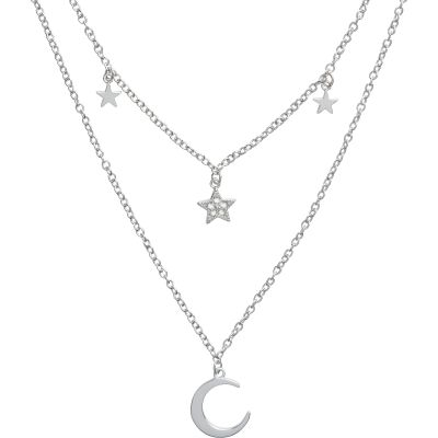 Celestial Double Cresent Moon and Star Necklace Silver Necklace OBJCLN01