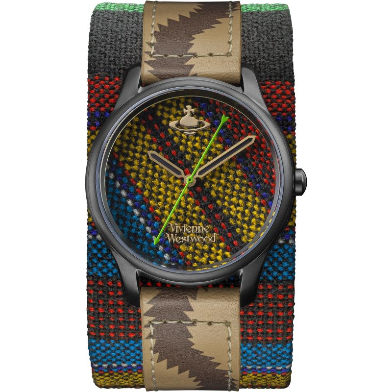 Vivienne Westwood Africa Ladies Quartz Multi Coloured Dial & Multi Coloured Leather Cuff VV197BKAF
