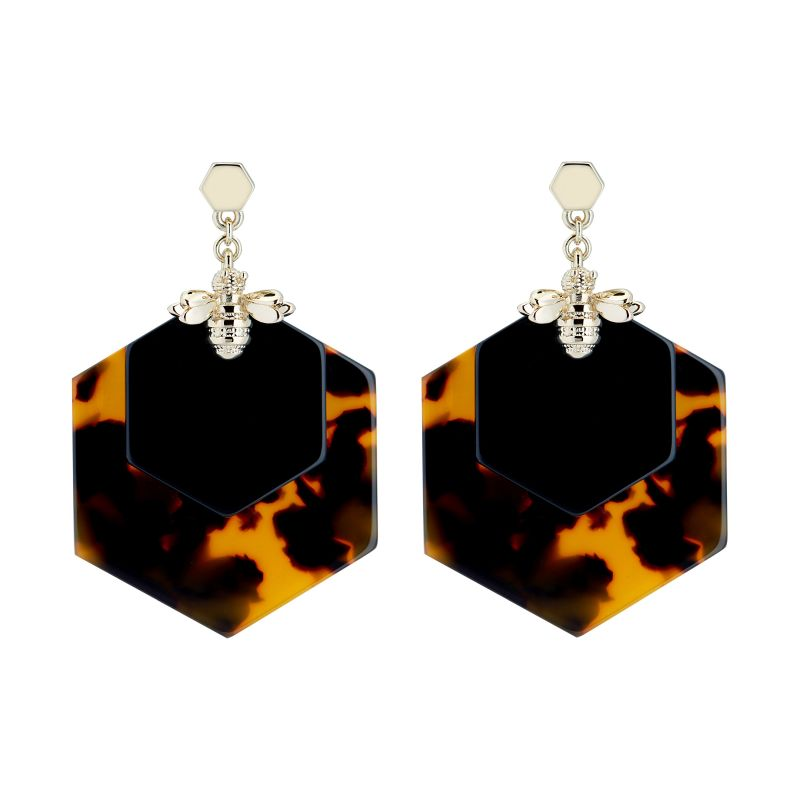 Honzza Bumblebee Honeycomb Earrings TBJ2246-30-354