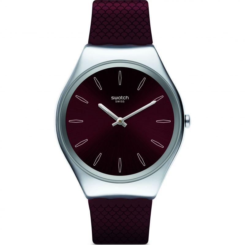 Unisex Swatch Skinburgundy Watch