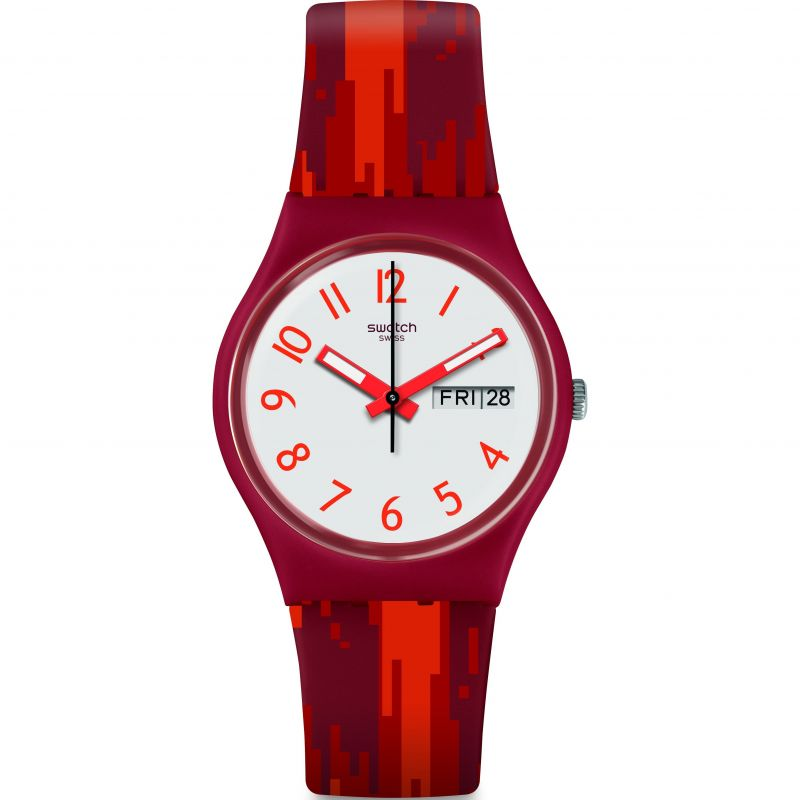 Unisex Swatch Red Flame Watch GR711
