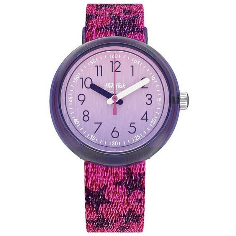 Childrens Flik Flak Glitter Stars Watch ZFPNP054