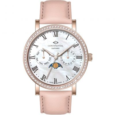 Continental Moon Phase / Day Date Dameshorloge Roze 19501-LM555511