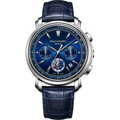 Mens Emile Chouriet Lac Leman Chrono Blue Automatic Chronograph Watch 16.1168.G42.6.8.98.2