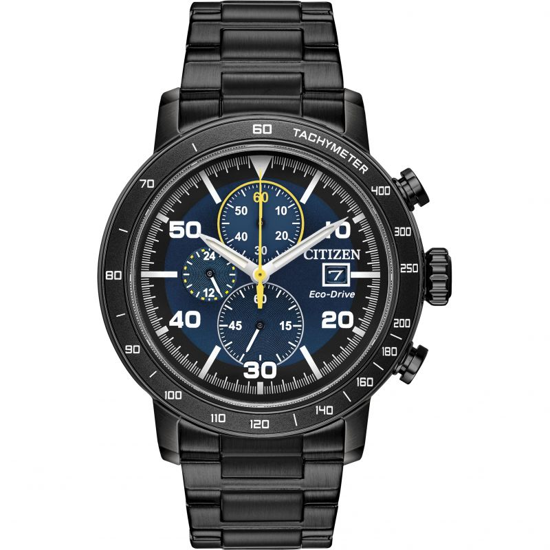 Citizen Exclusive Gents Eco-Drive Black Steel Chronograph Watch CA0645-82L
