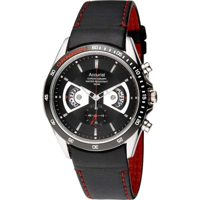 Accurist Accurist Mens Chronograph Strap Watch Herenchronograaf Zwart MS645B