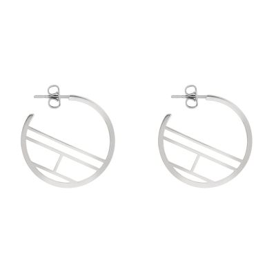 Ladies Tommy Hilfiger Jewellery Stainless Steel Flag Hoop  Earrings 2780328