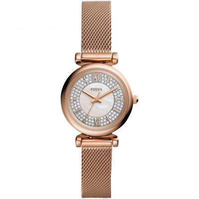 Fossil Carlie Mini Dameshorloge Rose Gold ES4836
