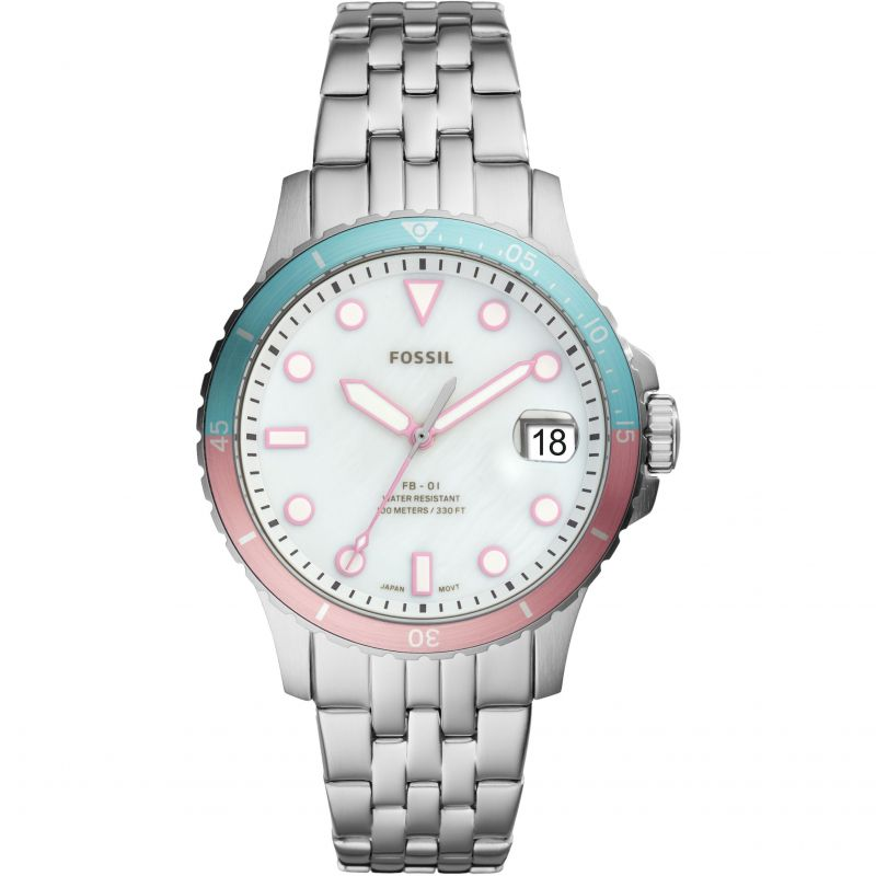 Ladies Fossil FB-01 Silver Watch ES4741