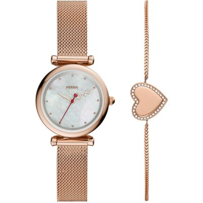 Fossil Carlie Mini Dameshorloge Rose Gold ES4867SET