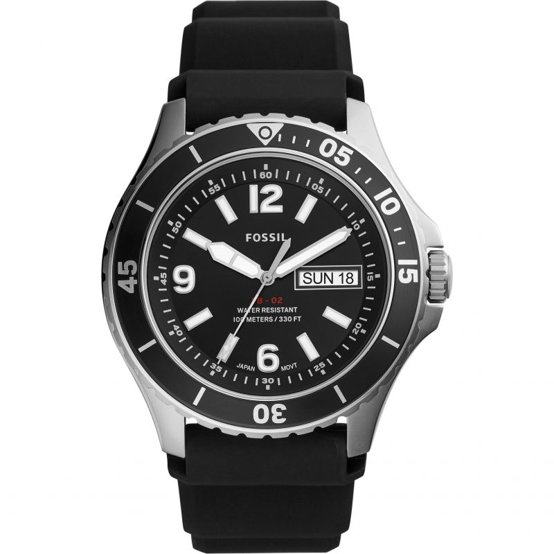 Fossil FB-02 Black Silicone Watch FS5689