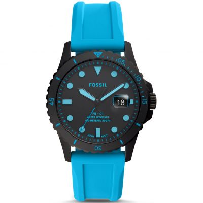 Fossil FB-01 Neon Blue Silicone Watch FS5682