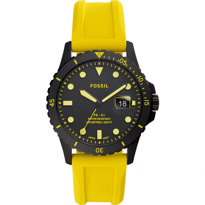 Fossil FB-01 Neon Yellow Silicone Watch FS5684
