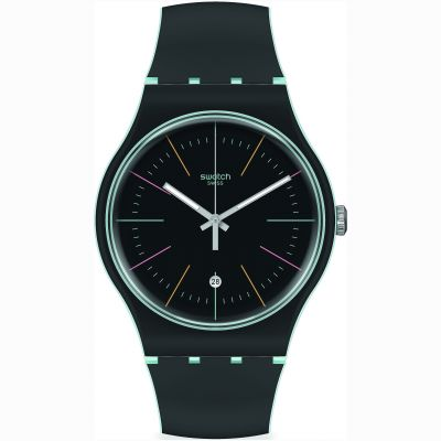 Swatch Originals Black Layered Herrenuhr in Schwarz SUOS402