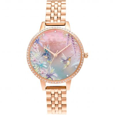 Olivia Burton Painterly Prints Sparkle Hummingbird Rose Gold Damenuhr in Gold OB16PP60