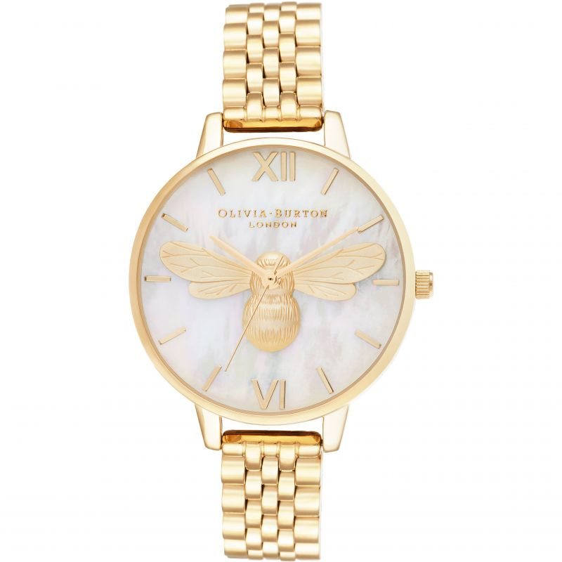 Olivia Burton Lucky Bee White MOP Demi Dial & Gold Bracelet Watch OB16FB18