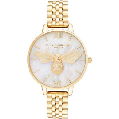 Olivia Burton Lucky Bee Lucky Bee MOP Demi Dial Gold Damenuhr in Gold OB16FB18