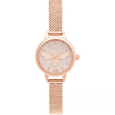 Olivia Burton Lucky Bee Mini Dial Rose Gold Boucle Mesh Damklocka Guld OB16FB15