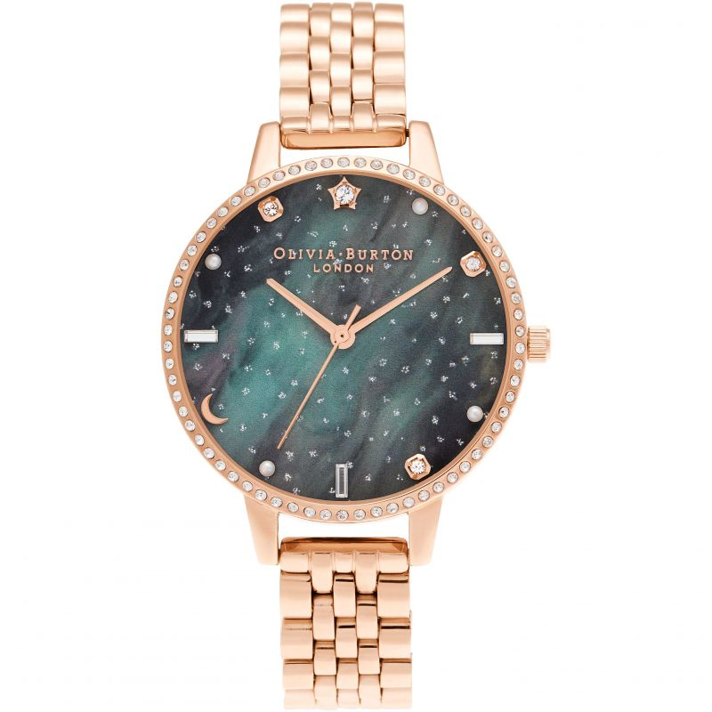 Olivia Burton Celestial Celestial Northern Lights Demi Dial Rose Gold Bracelet Watch OB16GD66