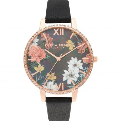 Olivia Burton Sparkle Florals Big MOP Dial Black & Rose Gold Watch OB16BF31