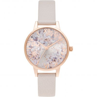 Olivia Burton Abstract Floral Midi Pearl Pink & Rose Gold Damenuhr in Pink OB16VM47