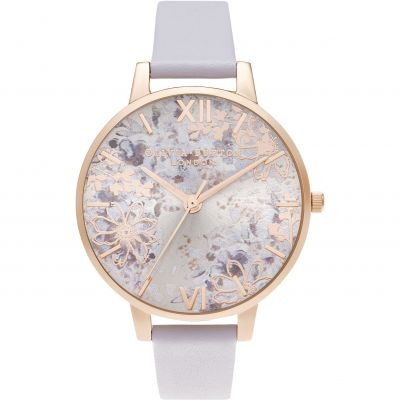 Olivia Burton Abstract Floral Big Dial Parma Violet & Pale Rose Gold Damenuhr in Lila OB16VM45