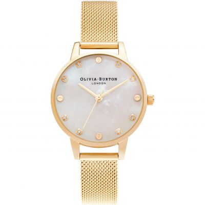 Montre Femme Olivia Burton Midi Dial with Screw Detail Pale Gold Mesh OB16SE08