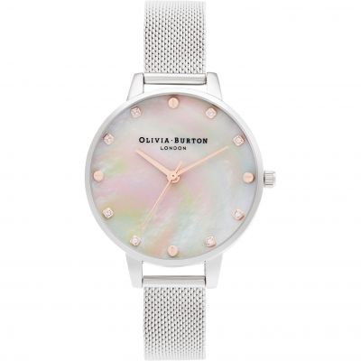 Olivia Burton Classics Demi MOP Dial with Screw Detail Silver & Rose Gold Mesh Damenuhr in Gold OB16SE07