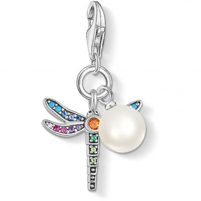 Thomas Sabo Dam Paradise Dragonfly Charm With Pearl Sterlingsilver 1833-340-7
