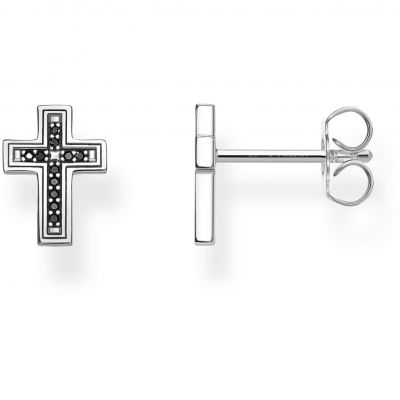 Thomas Sabo Unisex Rebel Kingdom Black Cross Ear Studs Sterling Zilver H2112-643-11