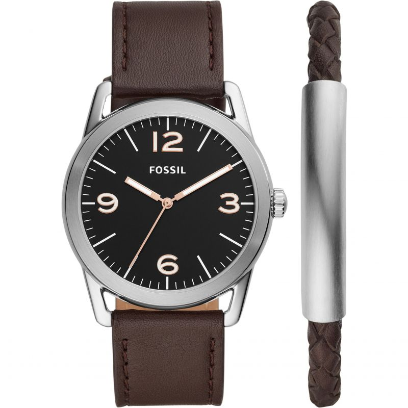 Fossil Ledger Brown Leather Watch Set BQ2465SET