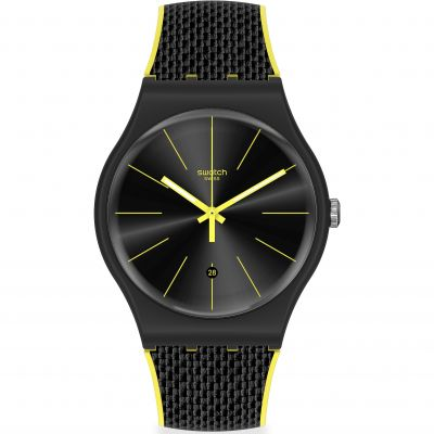 Swatch Originals Black Cord Herrenuhr in Schwarz SUOB406